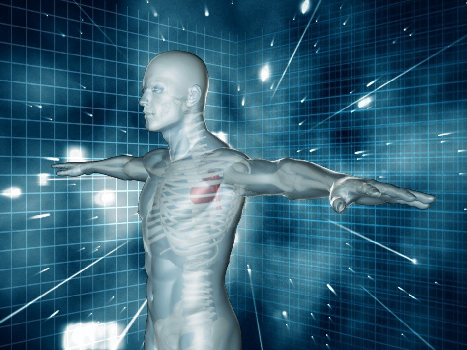 Conceptual human form with grid futuristic background