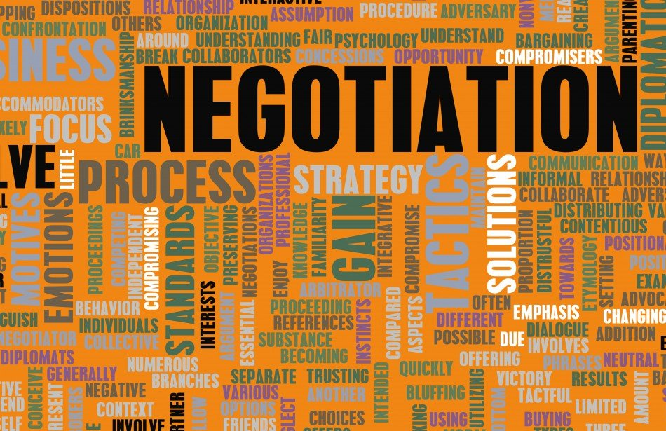 "Negotiation word cloud (many negotiation-related words. E.g., ""compromise, strategy"" etc.)"