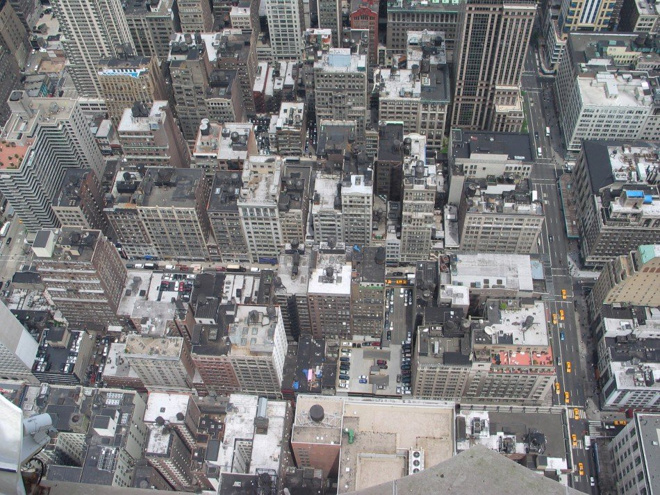 Bird's eye view of New York City streets
